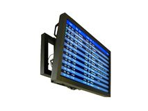 Airport delay sign, flight schedule, airline. The new airport flight schedule board isolated on white background. aeroplane flight numbers, status (go to gate Stock Photography