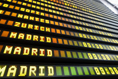 Airport Departure and Arrival information board sign perspective Stock Photos