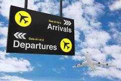 Airport Departure & Arrival information Board with White Jet Pas Stock Photography