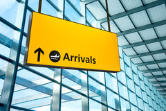 Airport Departure and Arrival sign at Heathrow, London Royalty Free Stock Image