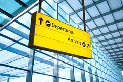 Airport Departure and Arrival sign at Heathrow, London Stock Image