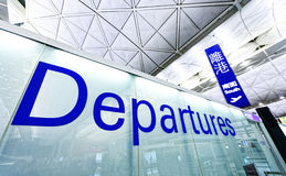 Airport Departure and Arrival sign. At hong kong Royalty Free Stock Photography