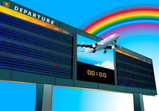 Airport departure board. Empty airport departure board with airplane flying to the rainbow vector illustration