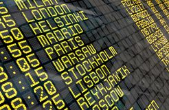 Airport Departure Board with European destinations Royalty Free Stock Photos