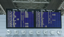 Airport Departure Board Information. Detail of an Airport Departure Board Information Royalty Free Stock Photography