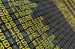 Airport Departure Board with Italian destinations Royalty Free Stock Photo