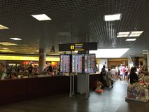Airport departure board screen in Palma Mallorca Royalty Free Stock Images