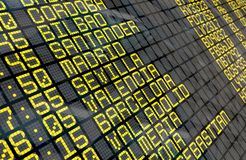 Airport Departure Board with Spanish destinations Royalty Free Stock Images