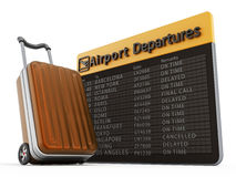 Airport departure board and suitcase Stock Image