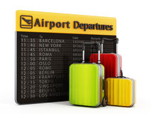 Airport departure board and suitcases Stock Photography