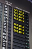 Airport departure information board Stock Photography