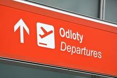 Airport departure sign. Airport departure sign, Warsaw International Airport, Poland Stock Photo
