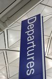 Airport departure sign. Airport interior and departure sign Stock Photo
