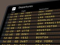 Airport departures. Departure board - destination airports illustration. USA destinations: New York, Chicago, Las Vegas, Honolulu, San Francisco, Washington Royalty Free Stock Photo