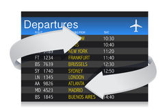 Airport departures Board with arrows Royalty Free Stock Photography