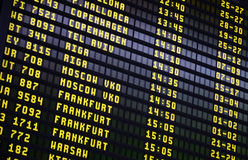 Airport Departures Board. Showing departure times and destinations Royalty Free Stock Image