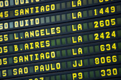 Airport departures board to South American travel destinations Royalty Free Stock Image