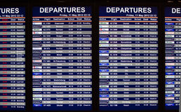 Airport departures information board Royalty Free Stock Photos