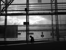 Airport departures. Man walking towards the boarding gate at Alicante airport Royalty Free Stock Photo