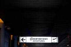 Airport departures sign At Thailand Royalty Free Stock Photography