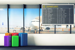 Airport Departures Table with Suitcases. 3d Rendering. Airport Departures Table with Suitcases extreme closeup. 3d Rendering Royalty Free Stock Photo