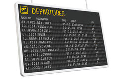 Airport Departures Table Stock Image