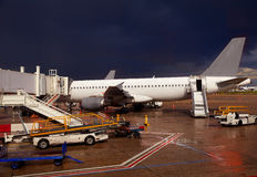 Airport detail in a stormy evening Stock Image