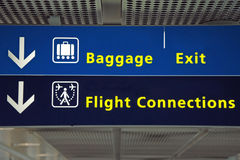 Airport direction flight sign. Airport direction flight connection, baggage and exit sign Stock Images