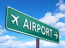 Airport direction road sign. Render royalty free stock image