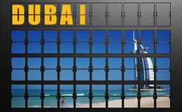 Airport display board of Dubai Stock Photo