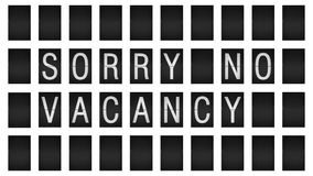 Airport display panel. A mechanical airport display panel with Sorry no vacancy on it stock video footage