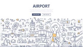 Airport Doodle Concept. Doodle vector illustration of a woman traveler landing on the flight. Airport travel concept for web banners, hero images, printed royalty free illustration