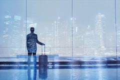 Airport double exposure, business travel. Background, passenger with suitcase luggage Stock Photography