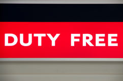 Airport Duty Free. Duty free illuminated sign on an airport Stock Photography