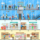 Airport Duty Free. Set of airport shop and luggae check illustrations stock illustration