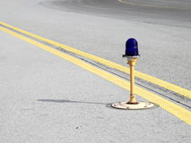 Airport edge light. Airport taxiway blue edge light Stock Photography