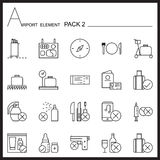 Airport Element Line Icon Set 2.Mono pack.Graphic  logo se Royalty Free Stock Image