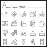Airport Element Line Icon Set 5.Mono pack.Graphic  logo se Royalty Free Stock Image