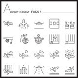 Airport Element Line Icon Set.Pack 1.Mono pack.Graphic  lo Stock Image