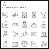 Airport Element Line Icon Set.Pack 3.Mono pack.Graphic  lo Stock Image