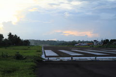 Airport in Ende during sunset Royalty Free Stock Photo