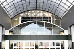 Airport Entrance. Glass concave entrance to international airport Stock Images