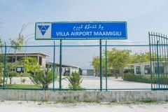 Airport entrance gates at the tropical island Maamigili. Airport entrance gates located at the tropical island Maamigili in Maldives royalty free stock photos