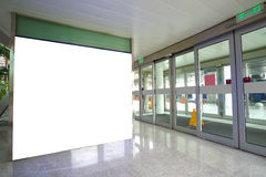 Airport exit door glass wall corridor wall lightboxes Royalty Free Stock Images