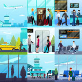Airport Express Compositions Set. Nine transport square compositions set with flat people characters airport buildings taxi lounge and takeoff plane vector stock illustration