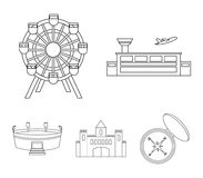 Airport, ferris wheel, stadium, castle.Building set collection icons in outline style vector symbol stock illustration.  Royalty Free Stock Photos