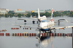 Airport fill with water during flood crisis Stock Photography