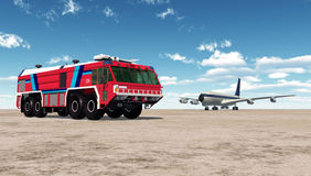 Airport Fire Truck and Airliner. Computer generated 3D illustration with Airport Fire Truck and Airliner Stock Photos