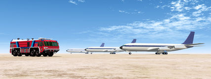 Airport Fire Truck and Airliners. Computer generated 3D illustration with an Airport Fire Truck and three Airliners Stock Photo