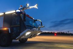 Airport fire truck in the evening Stock Image